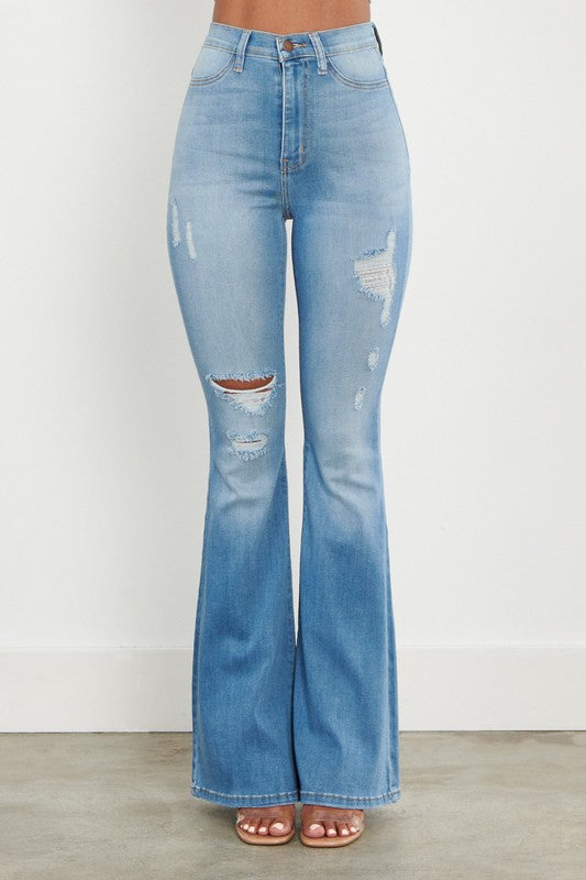 BLUEPRINT DISTRESSED FLARES | VIBRANT Blu Spero online shopping