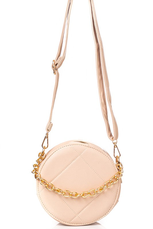 FAUX LEATHER ROUND CROSSBODY BAG | FAME Blu Spero online shopping