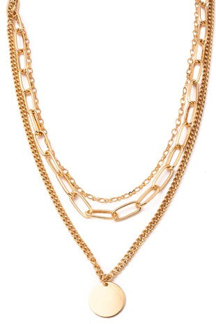 GOLD DISC CHARM LAYERED NECKLACE | ANARCHY STREET Blu Spero online shopping