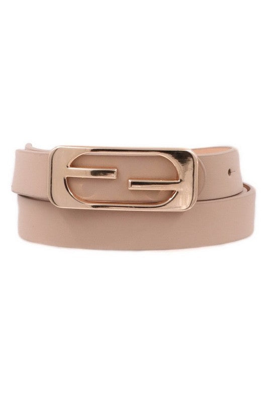 THIN METAL BUCKLE FAUX LEATHER BELT - 3 COLORS | ART BOX Blu Spero online shopping