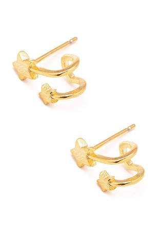 DOUBLE GOLD STAR HUGGIE EARRING | ANARCHY STREET Blu Spero online shopping