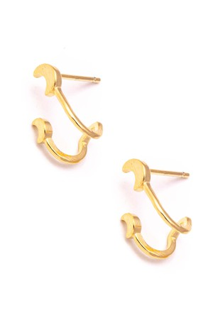 DOUBLE GOLD MOON HUGGIE EARRING | ANARCHY STREET Blu Spero online shopping