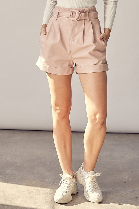 WALK IT OUT FAUX LEATHER SHORTS - 2 COLORS | IDEM DITTO Blu Spero online shopping