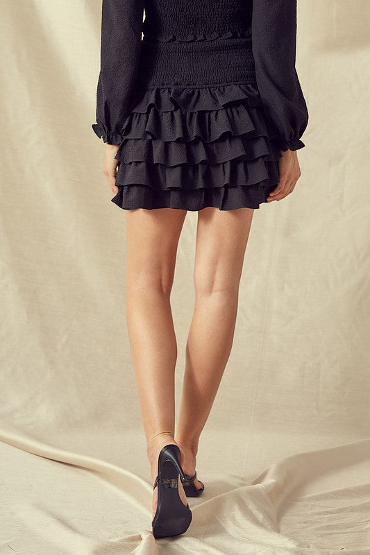 LOTTA LOVE RUFFLED SMOCKING MINI SKIRT | IDEM DITTO Blu Spero online shopping
