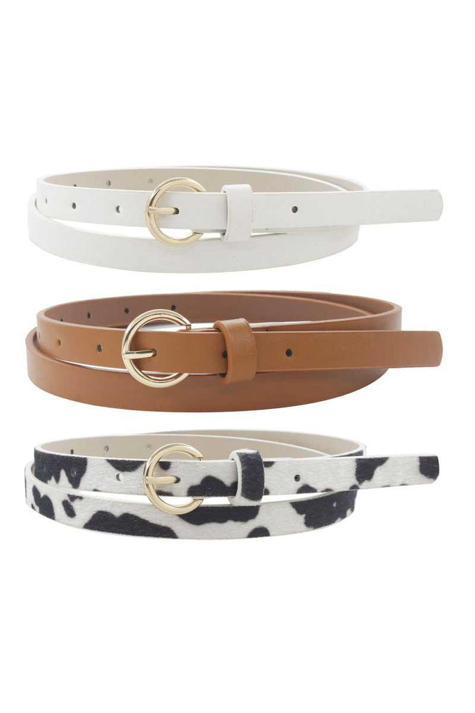 CIRCLE BUCKLE THIN FAUX LEATHER BELT | MERVEILLE Blu Spero online shopping
