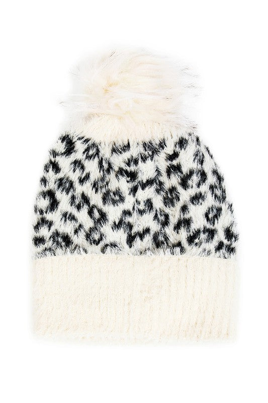 LEOPARD PRINT FAUX FUR BEANIE | BAG BOUTIQUE Blu Spero online shopping