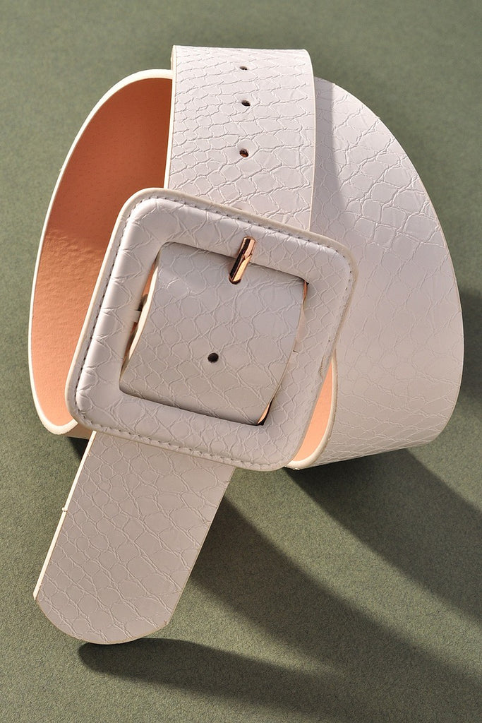 FAUX ALLIGATOR SQUARE BUCKLE BELT | MERVEILLE Blu Spero online shopping