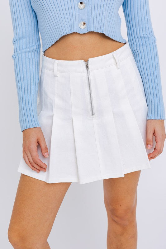 DON'T LISTEN PLEATED WHITE DENIM SKIRT