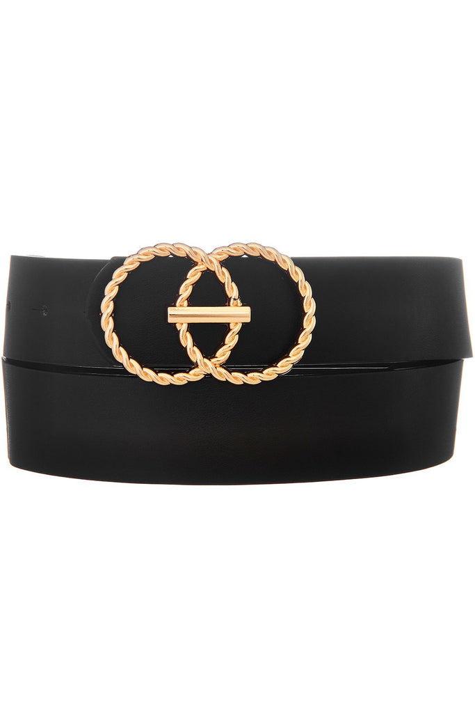 TWISTED DOUBLE CIRCLE BUCKLE FAUX LEATHER BELT | MERVEILLE Blu Spero online shopping