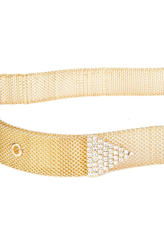 RHINESTONE BUCKLE CHAIN BELT | FAME Blu Spero online shopping