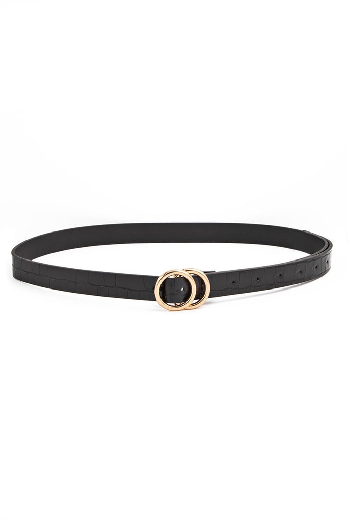 ROUNDED METAL BUCKLE FAUX LEATHER BELT - 3 COLORS | ANARCHY STREET Blu Spero online shopping