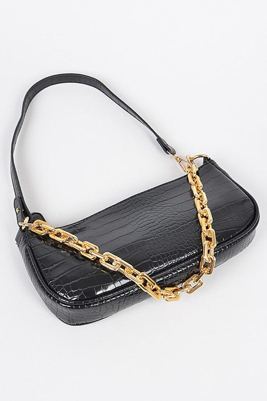 RECTANGLE SHAPE CHAIN LAYERED SHOULDER BAG - 2 COLORS