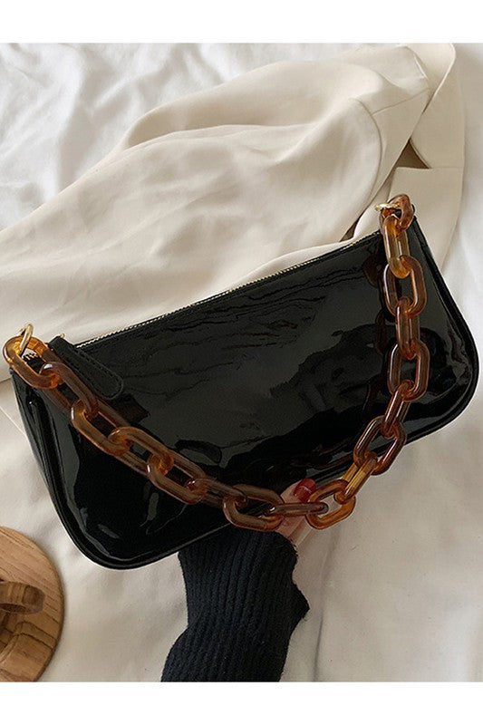 BLACK STRAP DANDY SHOULDER BAG