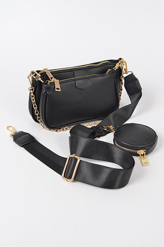 TRIPLE ZIP VERSATILE HANDBAG