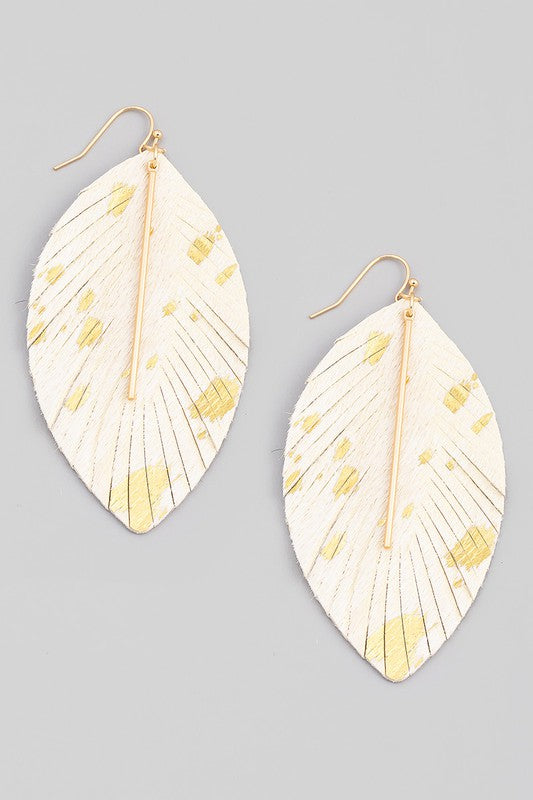 LEATHER LEAF DROP EARRINGS