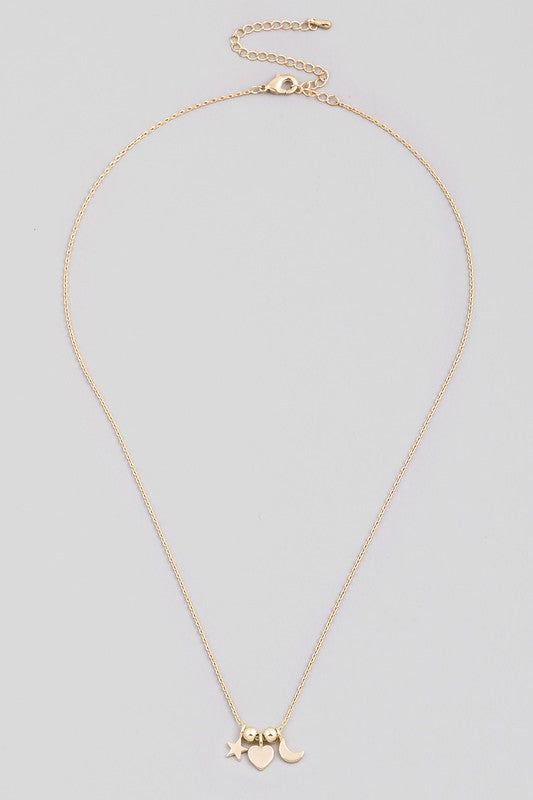 DAINTY STAR HEART MOON PENDANT NECKLACE