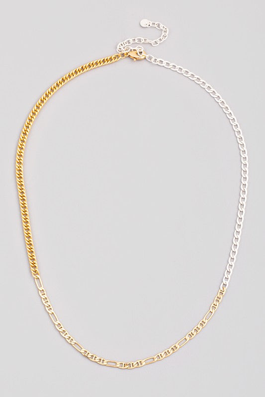 TWO TONE MULTI CHAIN LINK NECKLACE