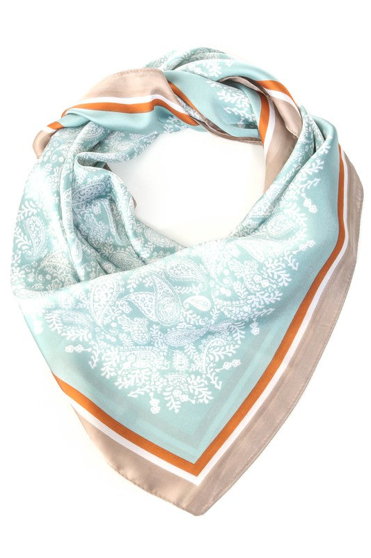 CONTRASTING FLORAL HEAD SCARF- 2 COLORS