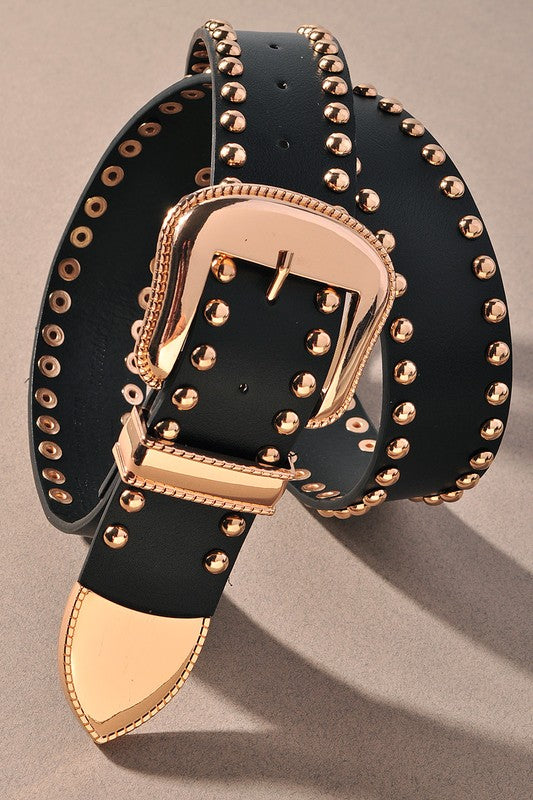 GOLD EMBELLISHED WESTERN BELT - 2 COLORS