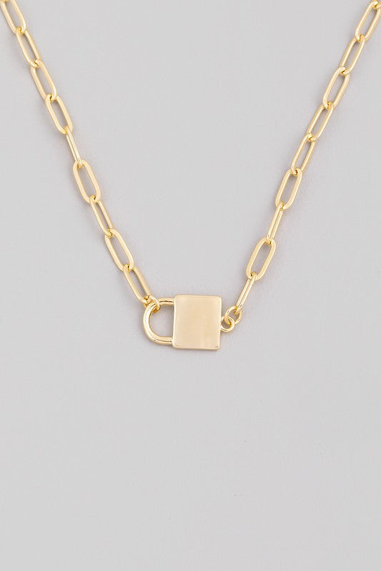 MINI LOCK CHAIN LINK NECKLACE