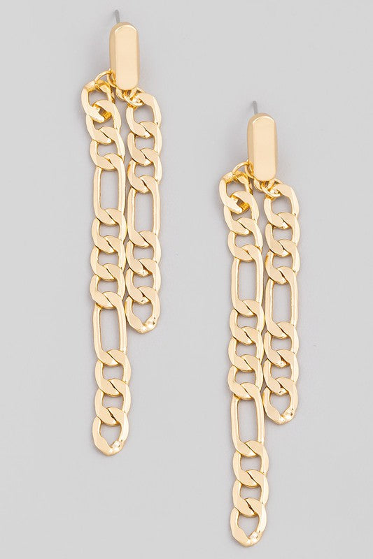 FLAT CHAIN LINK DANGLE DROP EARRINGS
