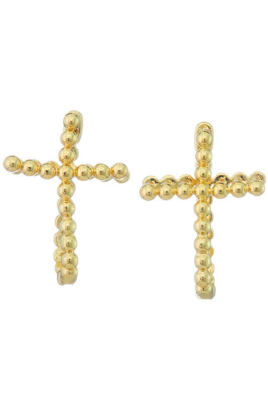 GOLD CROSS U SHAPED EARRINGS