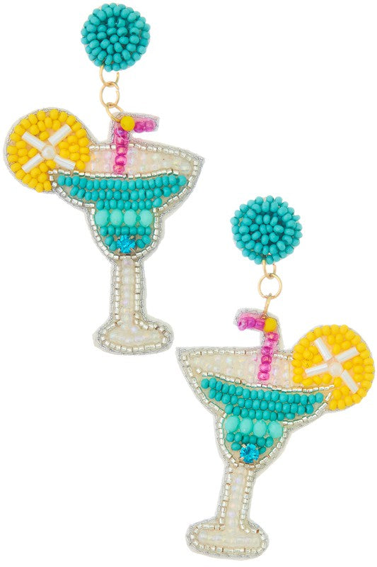 AQUA BEADED COCKTAIL EARRINGS