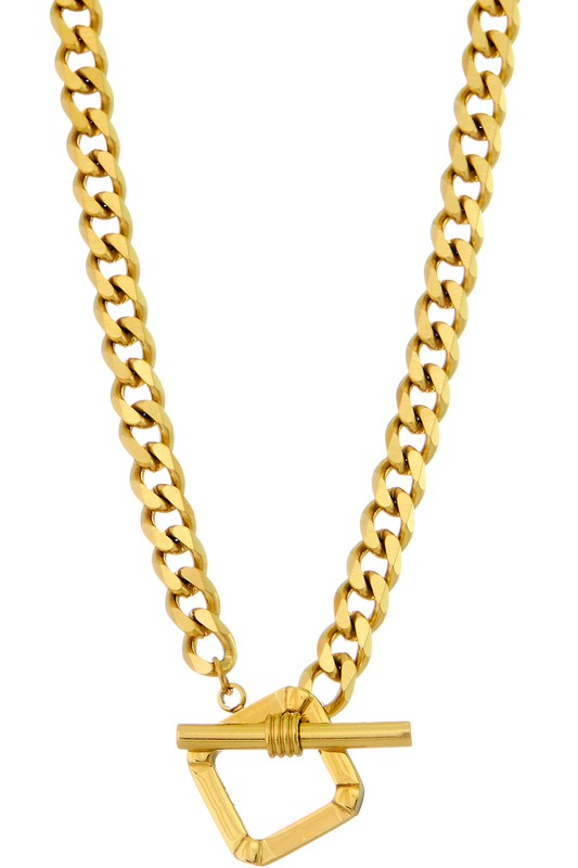 GOLD SQAURE TOGGLE CHAIN NECKLACE