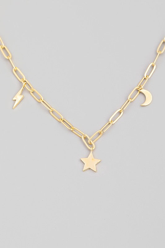 GOLD CHAIN LINK STAR LIGHTNING MOON CHARM NECKLACE
