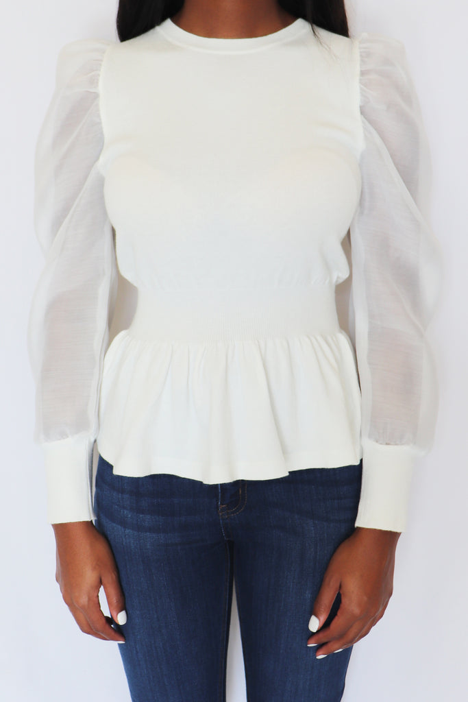 CHAMPAGNE NIGHTS PUFF SLEEVE TOP | IDEM DITTO Blu Spero online shopping