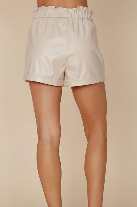 DON'T TOOT MY HORN CREAM LEATHER SHORTS | BLUE BLUSH Blu Spero online shopping