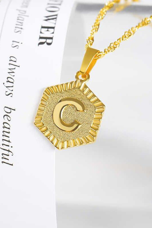 INITIAL HEXAGON CHARM PENDANT NECKLACE | BEAUTYSIS Blu Spero online shopping