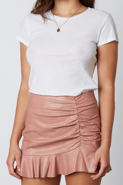 SIMPLY CHIC FAUX LEATHER SKIRT - 2 COLORS