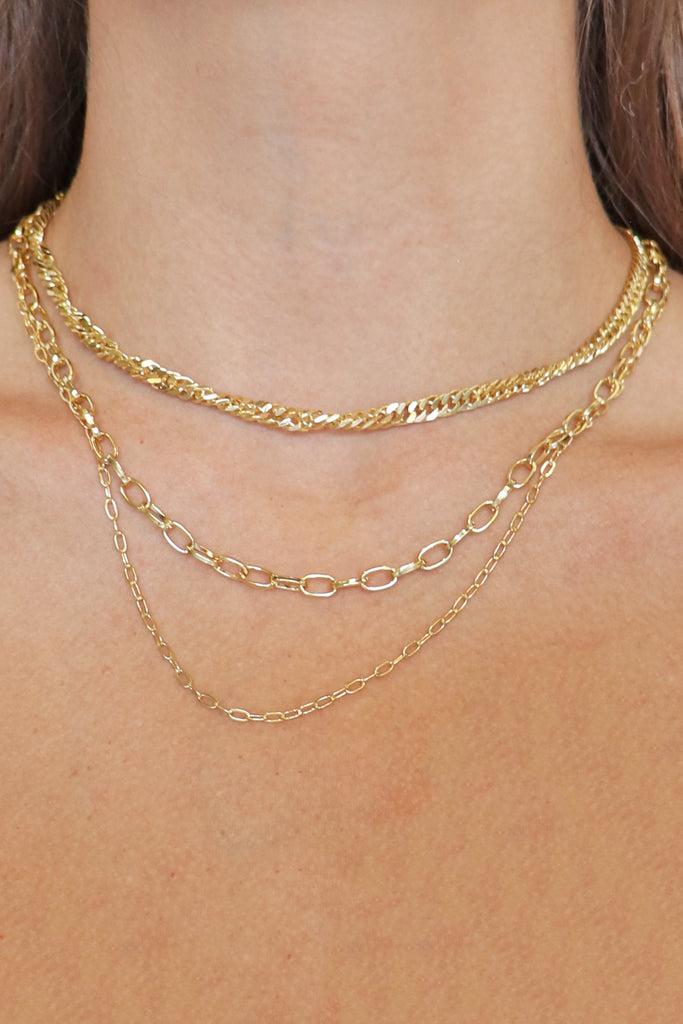 3 LAYERED GOLD  NECKLACE | GIRLY Blu Spero online shopping
