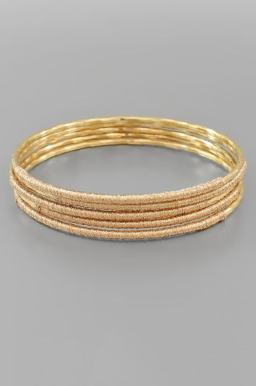HAMMERED & TEXTURED STACKABLE BANGLE SET
