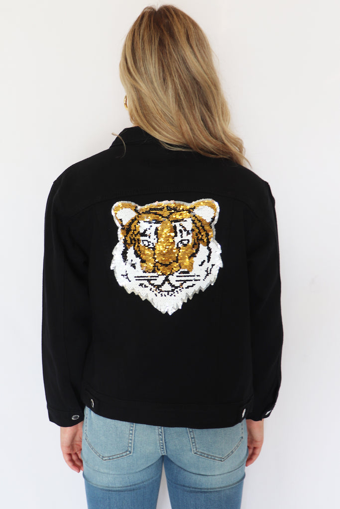 TIGERS BLACK DENIM JACKET | JUDITH MARCH Blu Spero online shopping