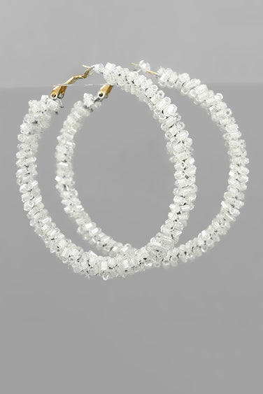 WHITE BEADED HOOPS