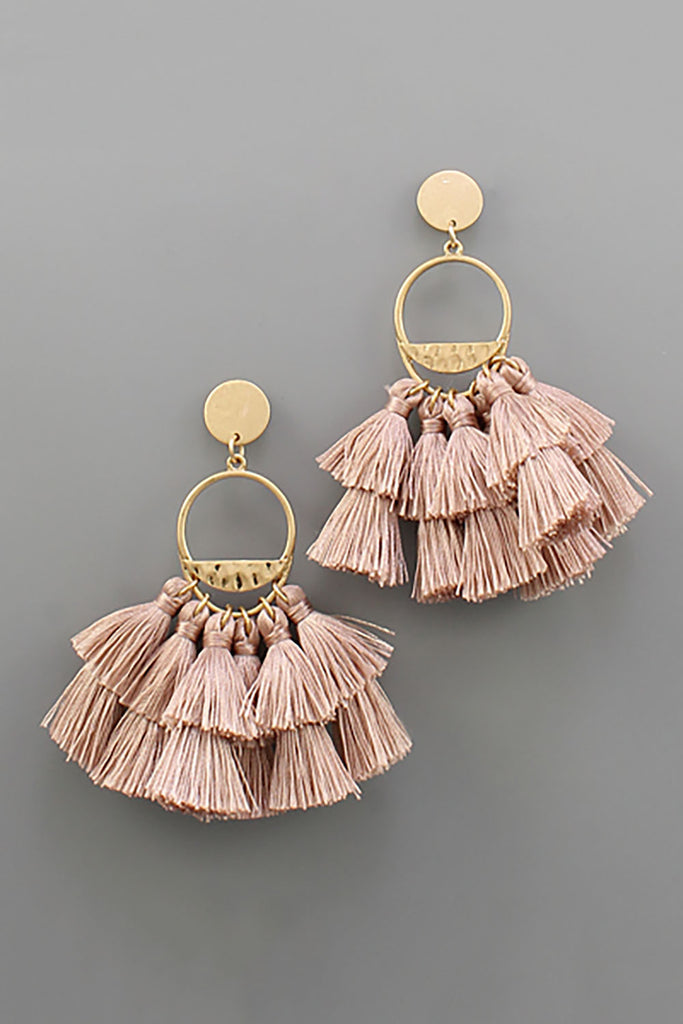 DUSTY PINK TASSEL PINK EARRINGS
