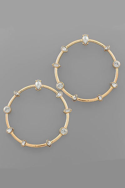 CLEAR BEADED CIRCLE EARRINGS