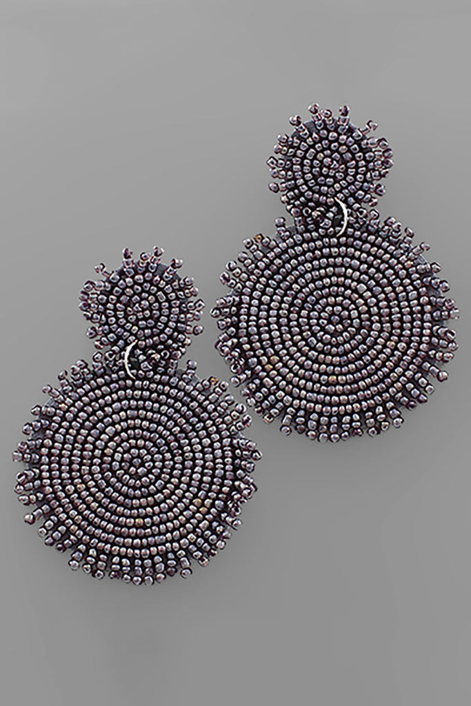 PURPLE DOUBLE BEADED DISC EARRINGS