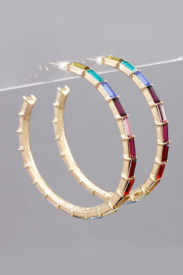 RAINBOW BAGUETTE BEAD OPEN HOOPS