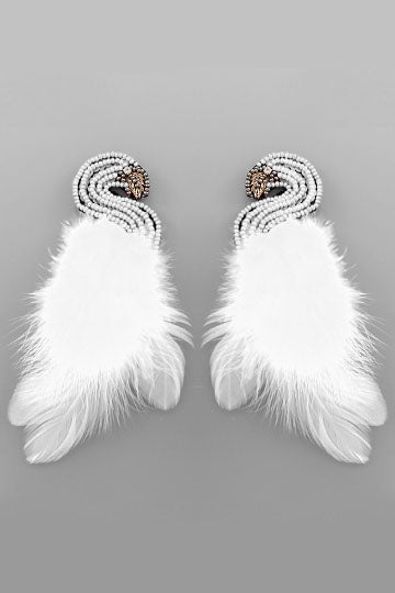 SWAN FEATHER EARRINGS