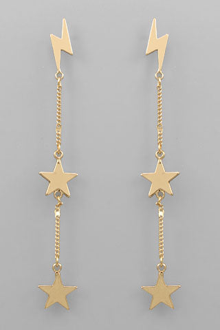 LIGHTENING & STAR DROP EARRINGS