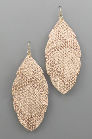 METALLIC SNAKE FEATHER EARRINGS