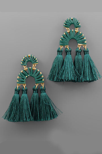 GREEN RAFFIA ARCH & TASSEL EARRINGS