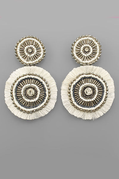 BEADED CIRCLE FAN EARRINGS