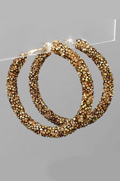 GOLD CRYSTAL CLUSTER HOOPS