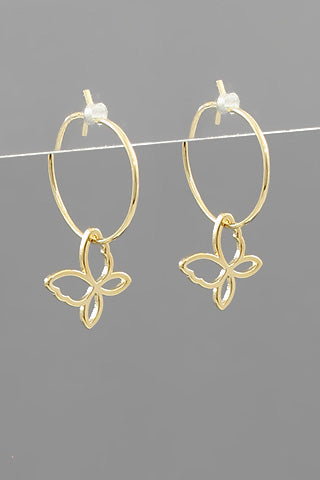 BUTTERFLY DANGLE HOOPS