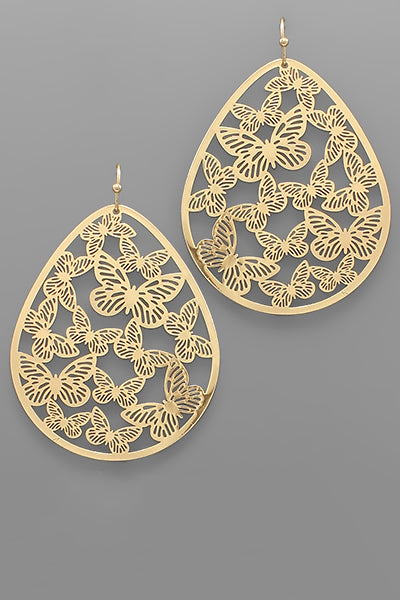 BUTTERFLY FILIGREE TEARDROP EARRING