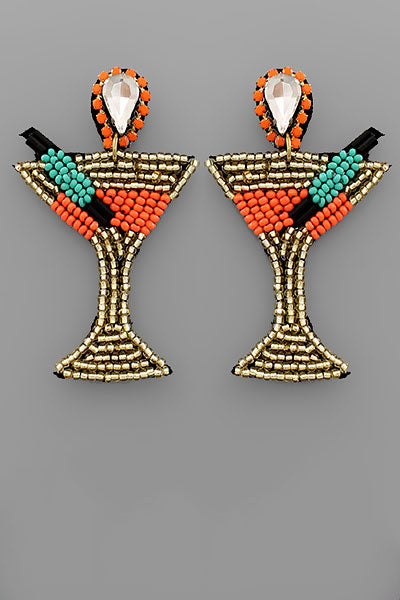 ORANGE MULTI BEAD COCKTAIL GLASS